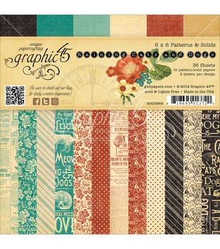 """Graphic 45 Double-Sided Paper Pad 6""""X6"""" 36/Pkg-Raining Cats & Dogs, 3 Each Of 12 Design"""