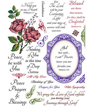 """6""""X8"""" Clear Stamp Set-With Sympathy 23pc"""