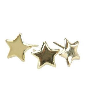 Metal Paper Fasteners-50PK/Gold Stars