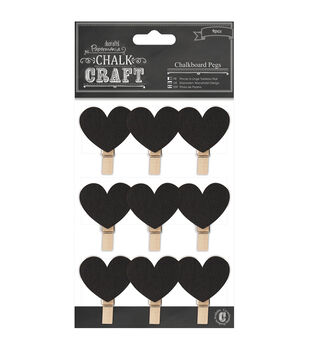 Papermania Chalk Craft Hearts Chalkboard Pegs