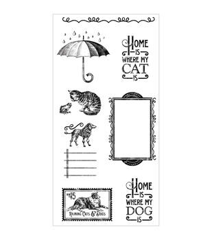 Graphic 45 Raining Cats & Dogs Cling Stamps-#3