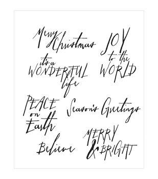 "Tim Holtz Cling Rubber Stamp Set 7""X8.5""-Handwritten Holidays #1"