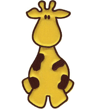 "Wrights Especially Baby Iron-On Appliques-Yellow/Brown Giraffe 2""X4"" 1/Pkg"