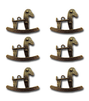 Maya Road Rocking Horses Vintage Metal Charms