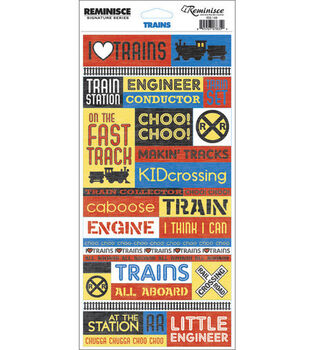 Reminisce Signature Series Travel Quote Stickers-Trains