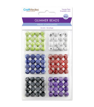 Craft Medley Assorted Colors Disco Ball Bead Variety Pack