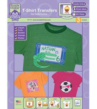 Purple Chimp T-shirt Transfers for Dark Colors