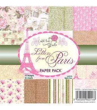 Wild Rose Studio Letters From Paris Paper 6''x6''