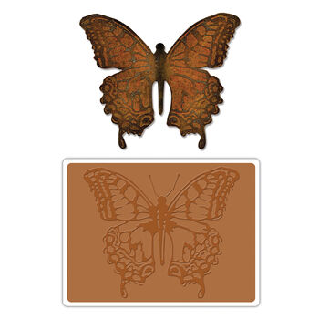 Sizzix Bigz Die W/A2 Texture Fades Folder By Tim Holtz-Layered Butterfly