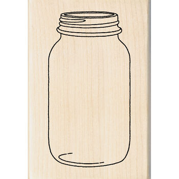 "Inkadinkado Mounted Rubber Stamp 1""X2.75""-Mason Jar"