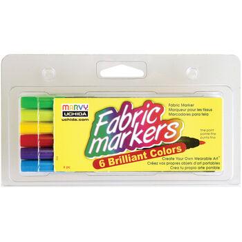 Fabric Marker Fine Tip 6/Pkg-Brilliant