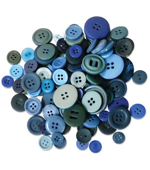 Button Embellishment Fashion Dyed Buttons 60g-Blues