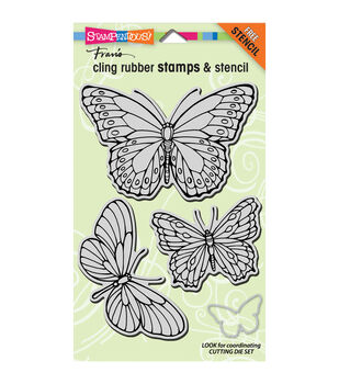 Stampendous Penpattern Butterflies Cling Rubber Stamp