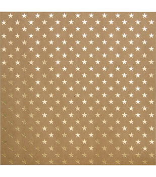 Bazzill Foiled Kraft Gold Stars Cardstock