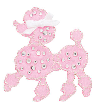 Simplicity Iron-On Applique-Jeweled Pink Poodle W/Rhinestones