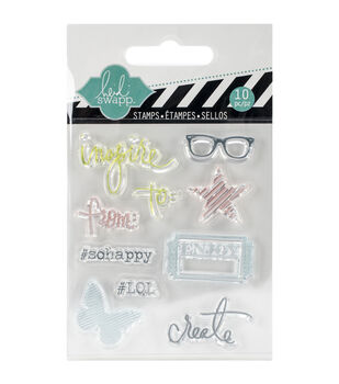 "Heidi Swapp Mixed Media Clear Mini Stamps 3""X3.5""-Inspire"