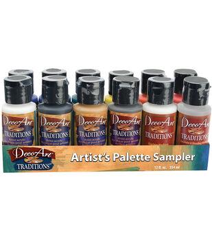 Deco Art Traditions Acrylic Palette Sampler 1 Ounce 12/Pkg