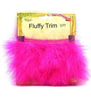 Marabou Feather Trim Tape-Hot Pink
