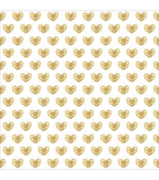 """Kiss Kiss Vellum 12""""X12""""-Gold Hearts"""
