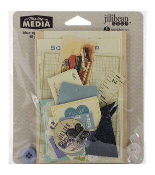 Jillibean Soup Mix The Media Blue Ephemera Pack 48 pcs