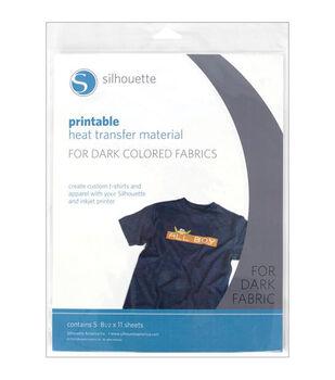 Silhouette Printable Heat Transfer Material 5/Pkg-For Dark Fabrics
