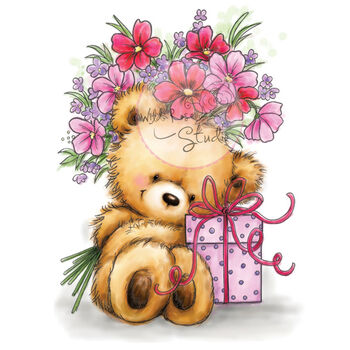 Wild Rose Studio Clear Stamp Set Teddy With Present