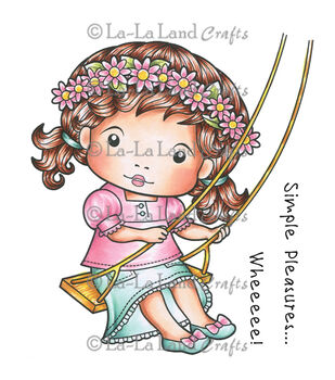 La-La Land Crafts Marci on a Swing Cling Mounted Rubber Stamps