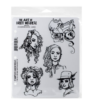 Stampers Anonymous Steampunk Selfie Ladies Cling Rubber Stamps