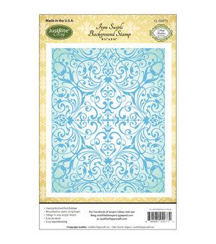 "JustRite Papercraft Cling Background Stamp 4.5""X5.75""-Iron Swirls"