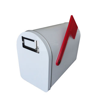 Medium Tin Mailbox W/Flag & Label Holder-White, 6''H X 8.125''L