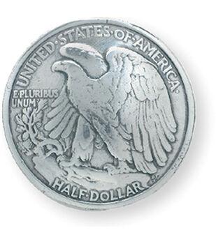 """Silver Finish Concho 1-3/16"""" Screwback-Eagle Half Dollar"""