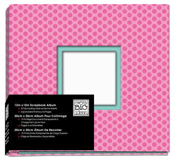 12xx12 Photo Album Hot Pink with Polka Dots
