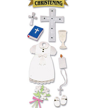 Touch Of Jolee's Dimensional Sticker-Christening Girl