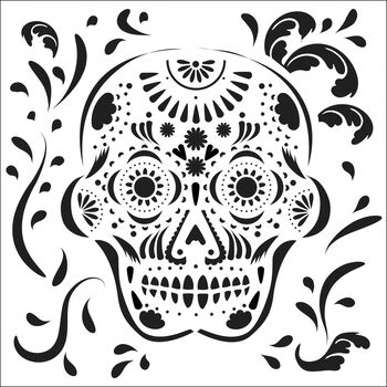 Crafter's Workshop Template Mexican Skull 6'' x 6''