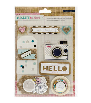 Crate Paper Craft Market Standouts Layered Stickers With Burlap Accents