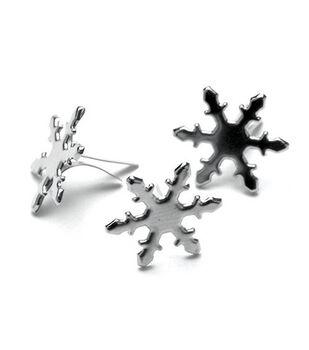 Metal Paper Fasteners-50PK/Silver Snowflakes