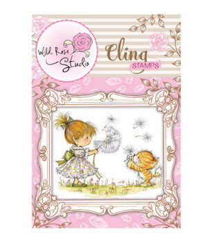 Wild Rose Studio Cling Stamp Emily With Dandelion