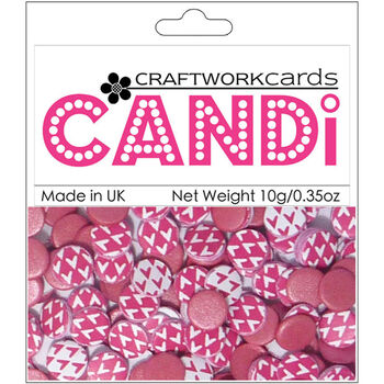 Craftwork Cards Candi Dot Printed Embellishments Lipstick Pink