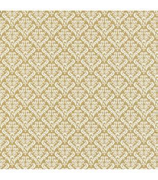 Canvas Corp White  & Kraft Damask Printed Single-Sided Cardstock
