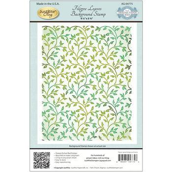Justrite Stampers Cling Background Stamp Filigree Leaves