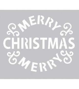 FabScraps Merry Christmas Plastic Stencil