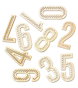Wanderlust Laser-Cut Wood Veneer Shapes 10/Pkg-Large Bold Numbers