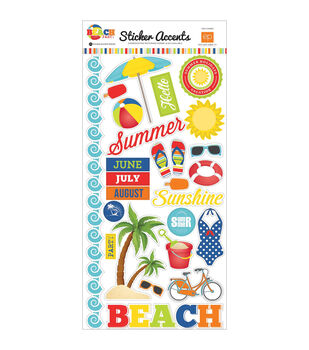 Echo Park Paper Company Beach Party Accents Stickers 6''x12''
