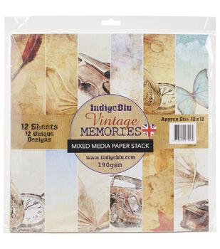 IndigoBlu Vintage Memories Paper Stack Cardstock 12''x12''