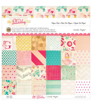 """Oh Darling paper Pad 12""""X12"""" 48/Sheets-Single-Sided"""