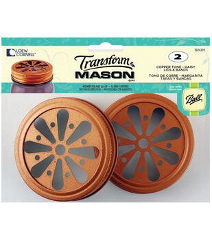 TransformMason Lids & Bands 2/Pkg-Copper Daisy