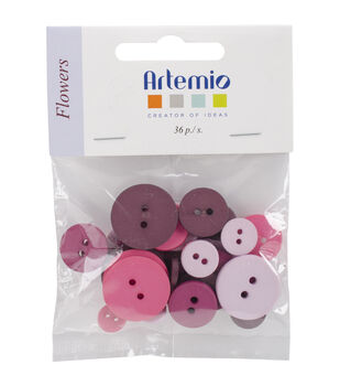 Artemio Flowers Round Buttons 36 pcs