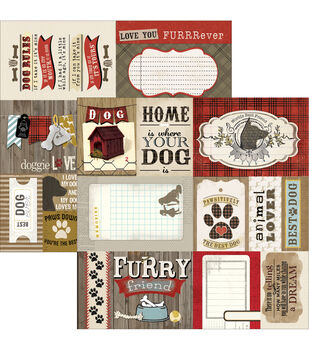 "Hound Dog Double-Sided Cut Apart Cardstock 12""X12""-"
