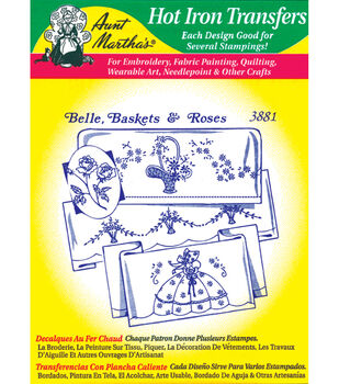 Aunt Martha's Iron-On Transfers-Linen/Monograms 24 Pack