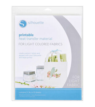 Silhouette Printable Heat Transfer Material 5/Pkg-For Light Fabrics